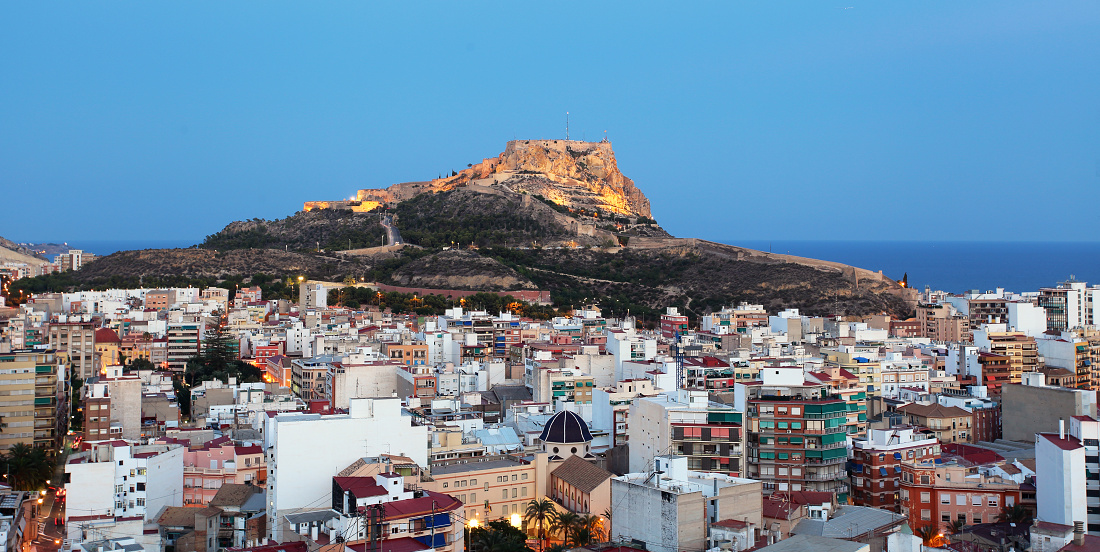 Alicante skyline at night, Spain