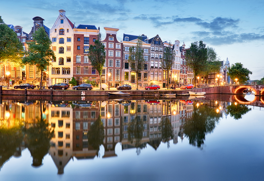 Amsterdam at night, Netherlands.