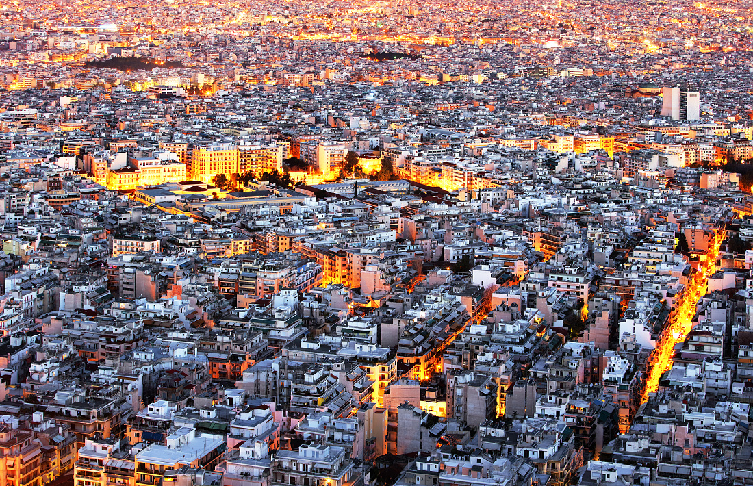 Athens skyline aerial view at night