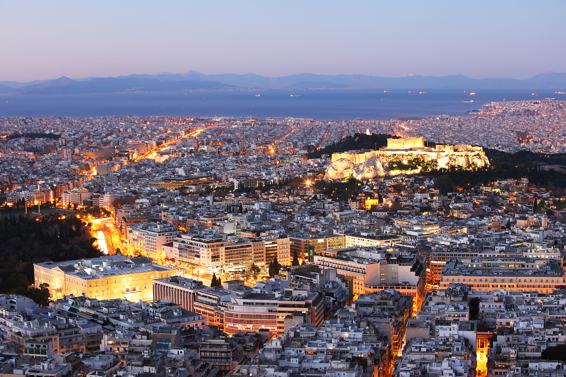 Athens skyline at night with acropolis