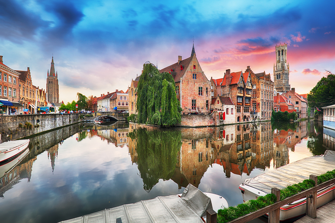 Bruges at dramatic sunset