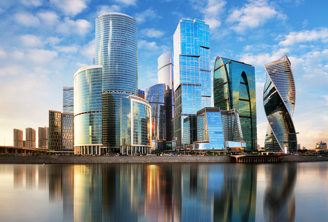Modern skyscrapers business center Moscow - City in Russia
