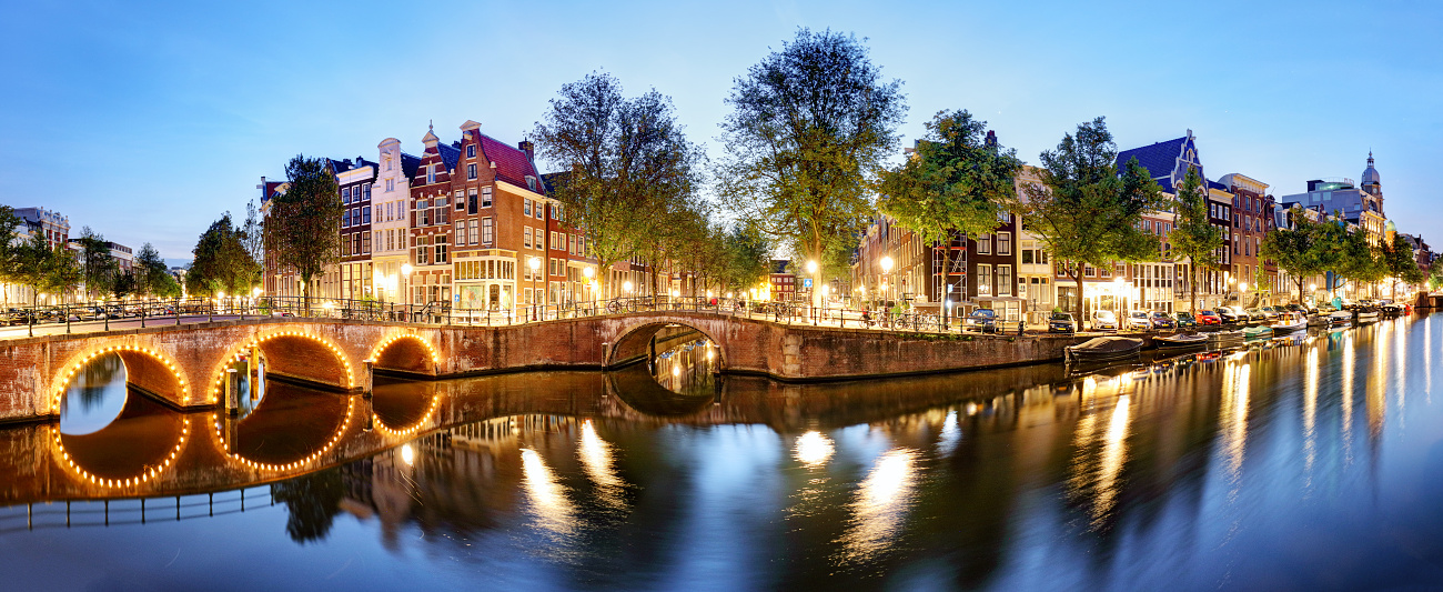 Panorama of Amsterdam at night