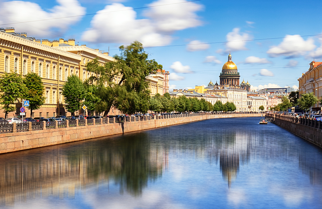 Saint Isaac Cathedral across Moyka river