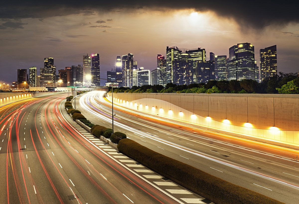 Singapore cityscape with highway