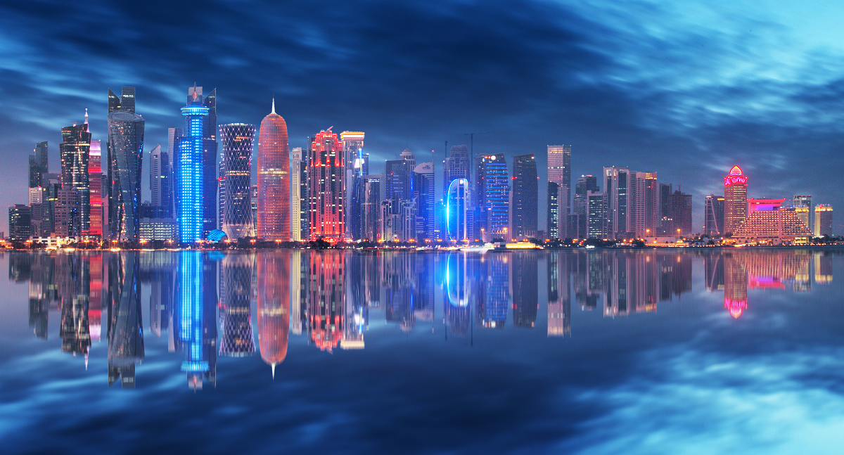 Skyline of Doha at night