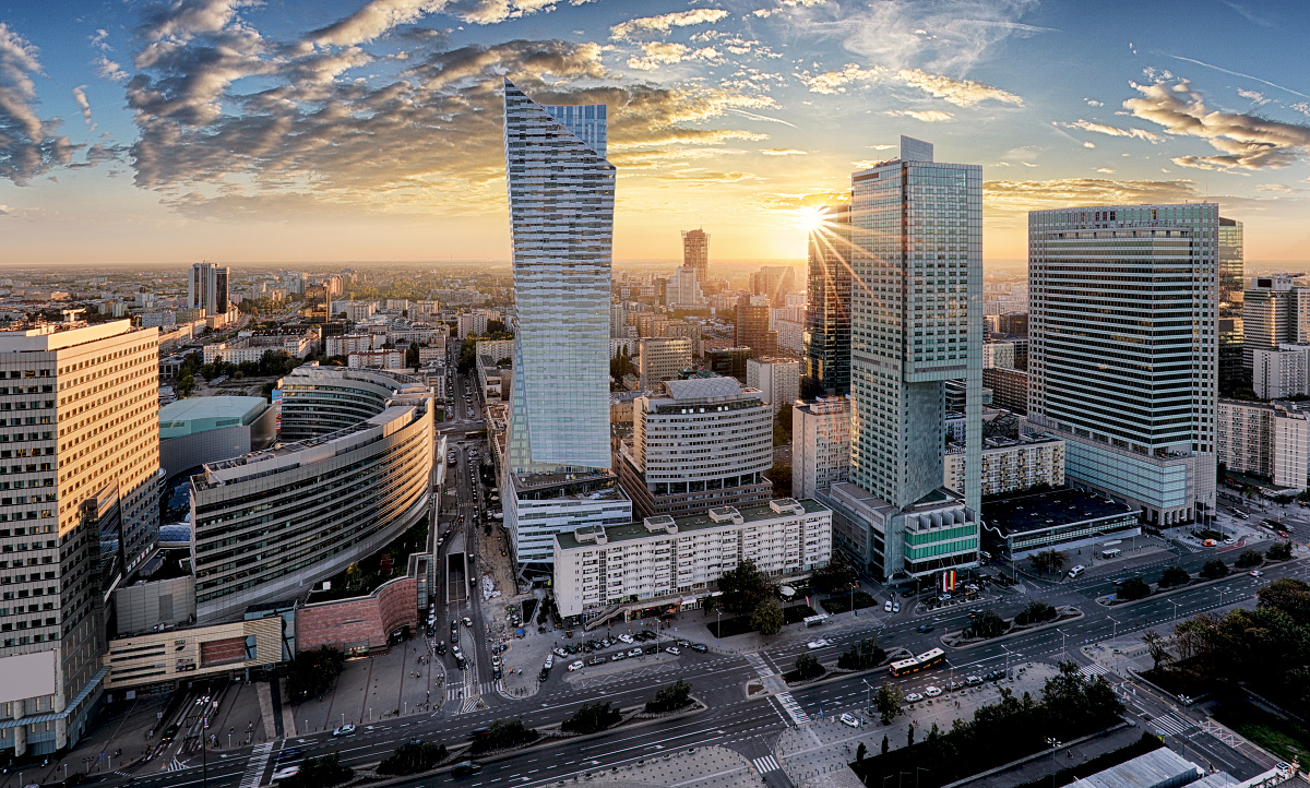 Warsaw skyline at sunset