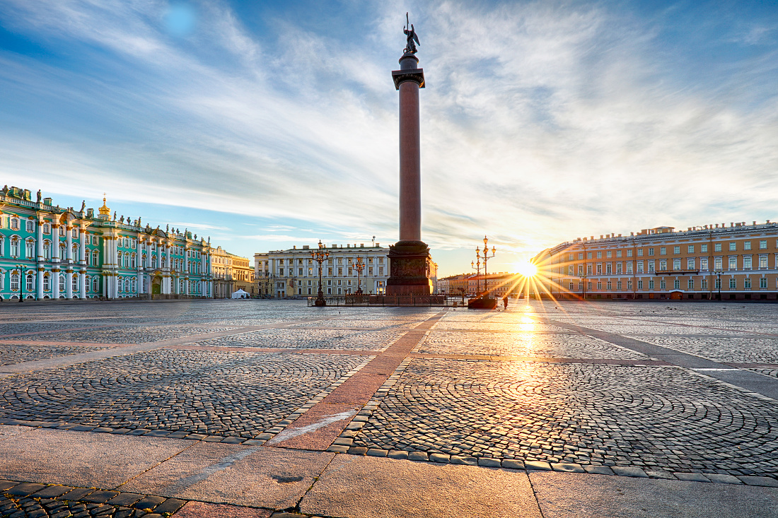 Winter Palace square at sunrise