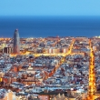 Barcelona skyline, Aerial view at night.