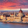 Budapest parliament at dramatic sunset