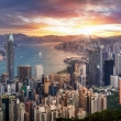 Dramatic sunrise of Hong Kong