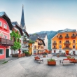 Hallstatt square in Austria Alps