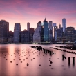Manhattan skyline at red sunset