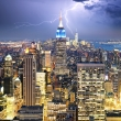 New York City with lightning bolt