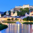 Salzburg skyline at night, Austria