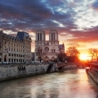 Notre Dame with Seine at sunrise