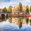 Panorama of Amsterdam with reflection