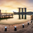 Panorama of Singapore with Merlion