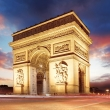 Paris, Arc de Triumph at sunset